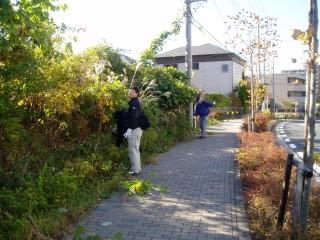 ふるさと緑地での清掃・除草作業前