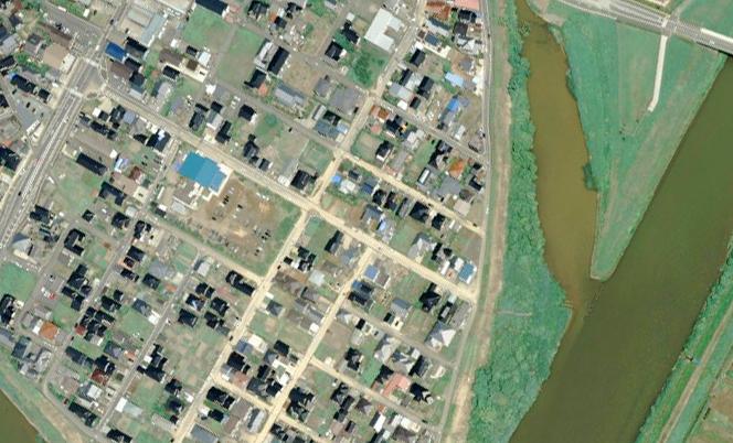 柏崎市鯖石川下流付近 航空写真