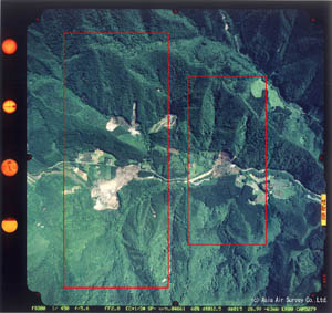 垂直写真-1 花山ダム上流、迫川流域の垂直写真
