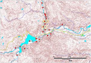 図-1 斜め写真標定図(2008年6月14~15日撮影)