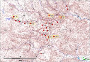図-3 斜め写真標定図(2008年6月14~15日撮影)