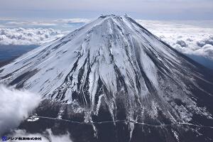 富士山スラッシュ雪崩 斜め空中写真_6