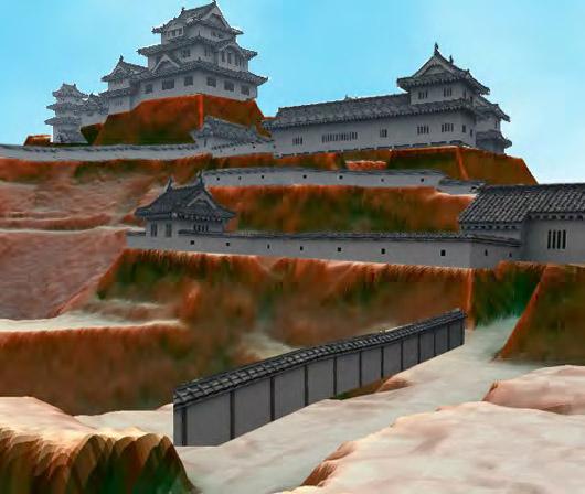 奈良県高取城の赤色立体地図