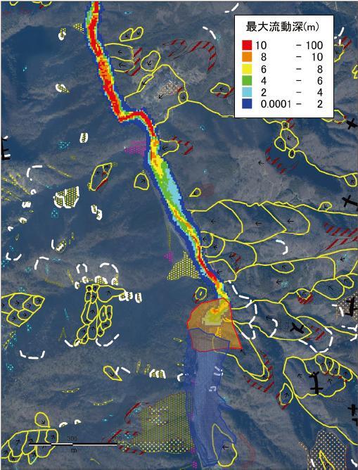 図4 天然ダム決壊による被害影響範囲